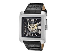 Men's See-Thru Silver/Black Leather Watch