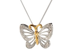 Sterling Silver & 10kt Diamond Butterfly