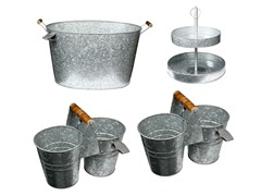Galvanized Party Tub,2 Caddies & 2 Tier Cake Stand