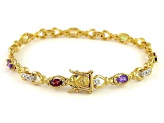 Gold Plated SS Diamond Accent Gemstone Bracelet