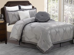 Hampshire 8pc Comforter Set-Grey- Queen