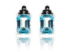 SS Genuine Sky Blue Topaz & Blue Sapphire Earrings