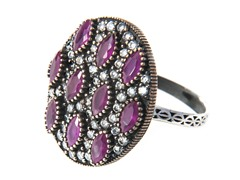 SS Otantic Oval Dyed Ruby Genuine Semi-Precious Gemstone CZ Ring