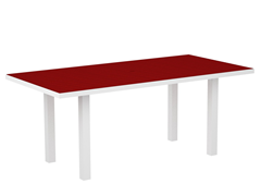 Euro Dining Table, White/Sunset Red