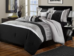 Euphoria 8Pc Comforter Set - Black - 2 Sizes