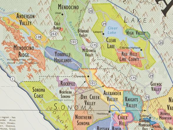 De Longs California Wine Map - Map de california