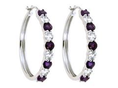 Created White Sapphire & Amethyst Hoop Earring