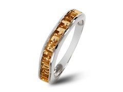 SS Square Cut Citrine Wave Band