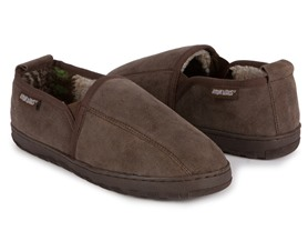 Eric Double Gore Printed Berber Suede Slipper, Brown