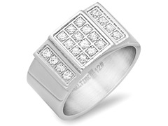 Men's Stainless Steel Ring w/ CZ Accent