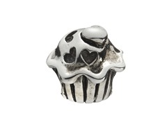 Sterling Silver Cupcake w/ Hearts