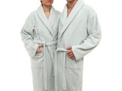 Unisex Herringbone Weave Bathrobe-Aqua Blue