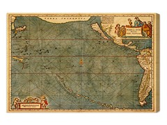 Mare Pacificum Map 1600s (4 Sizes)