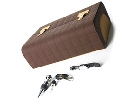 Brown Quilted Leather Wine Box