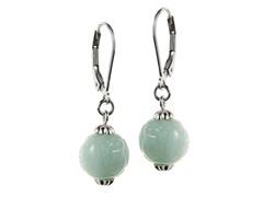 Sterling Silver, Carved Jade Drop Earrings
