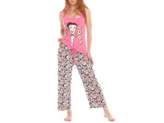 Betty Boop Capri Sleep Set, Pink / Gray Print