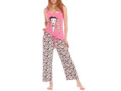 Betty Boop Capri Sleep Set, Pink / Gray Print