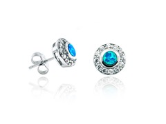 SS Blue Opal Halo Earring