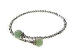 Sterling Silver Sparkle Bead & Jade Bead Bypass Bracelet
