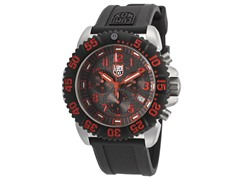 Men's Chrono Black & Red w/ Rubber Band