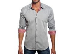 Jared Lang Dress Shirt, Grey/Pink Check