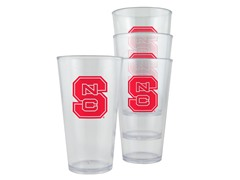 NC State Plastic Pint Glasses 4-Pk