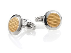 Polished 14K Gold Plated SS Diamond Design Round Cufflinks
