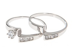 18kt White Gold Curved Engagement Set