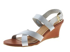 Carrini Criss-Cross Low Wedge Sandal, White