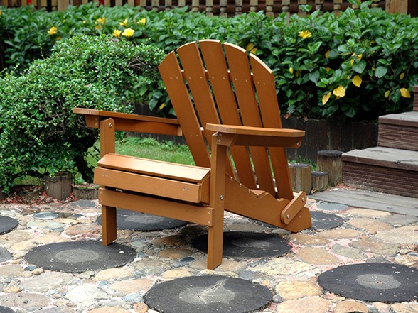 Faux Wood Adirondack Chair With Ottoman