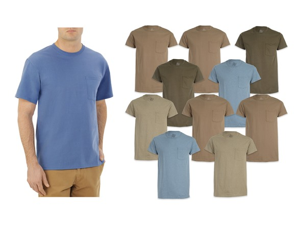 10 Pack Fruit of the Loom Men's Pocket T-Shirts in assorted Earth Tones