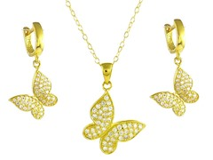 18kt Plated Hanging Butterfly Set