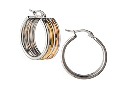 Stainless Steel Polish 3-Tone Flat Hoop Earrings