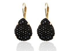 Onyx Diamond Crushed Teardrop Huggie Earrings