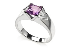 Sterling Silver Square Cut Amethyst Ring