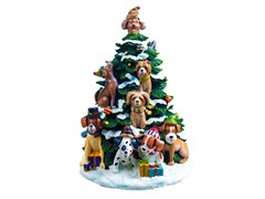 Holiday Dogs Lighted Tree Figurine