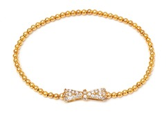 Gold/White Swarovski Elements Bow Elastic Bracelet