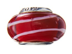 Red Swirl Glass Bead