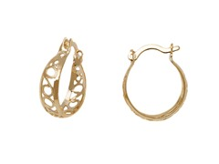 Gold Filigree Cut-Out Hoop Earring