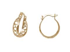 Gold Filigree Cut-Out Hoop Earring
