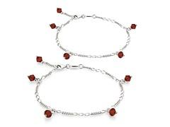 Garnet Bracelet & Anklet Set