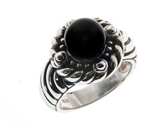 SS Oxidized, Black Onyx Bead Ring
