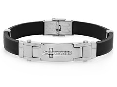 Men's Rubber Bracelet with Cross CZ