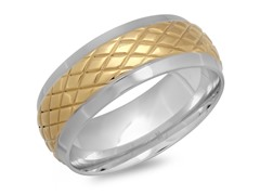 SS Band Ring w/ 18kt Gold X Accent