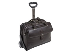 """Carugetto Leather 17"""" Wheeled Laptop Case"""