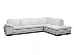 Diana Pale Gray Leather Modern Sectional