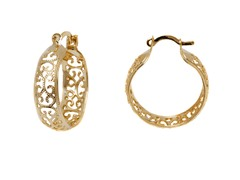 Gold Filigree Hoop Earring