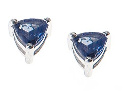 Sterling Silver Trillion Tanzanite Studs