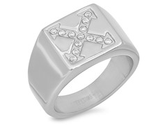 Men's Stainless Steel Ring w/ Accent