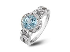 SS Blue Topaz & White Topaz Halo Ring